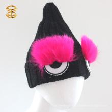 Custom Funny Cute Eye Shape Criança Inverno chapéu de malha
