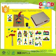 Preescolar madera pounding bench OEM feliz artesano-martillo juguetes para niños MDD-1004