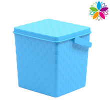 Plastic Rectangle Weave Design Storage Bucket with Handle (SLT002)