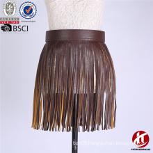 2016 Factory Price Western Fringe Skirt Belt Tassel PU Belt for Women