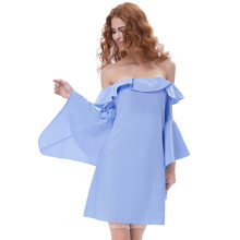 Kate Kasin Sexy Womens Half Sleeve Waterfall Cuffs Off Shoulder Light Blue Mini-robe KK000678-1