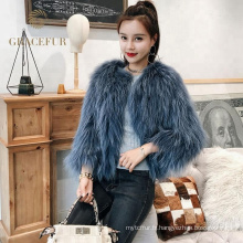 Accepter commande personnalisée manteaux de fourrure de raton laveur moderne