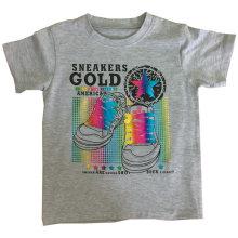 T-shirt do menino da luz do sol para a roupa das crianças com impressão da folha Sqt-608