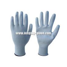Luva branca do trabalho do plutônio do forro do nylon / poliéster 13G (5537)
