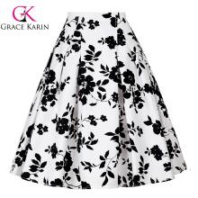 Grace Karin Occident Vintage Retro 50s jupe en coton à motifs floraux CL008925-9