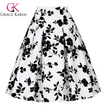 Grace Karin Occident Vintage Retro 50s Floral Pattern Cotton Skirt CL008925-9