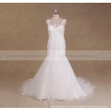 2017 Encaje rebordeado Backless más vestido de boda de la sirena del tamaño