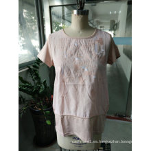 Summer Linen Comfortable Breathable Pink Camiseta de moda