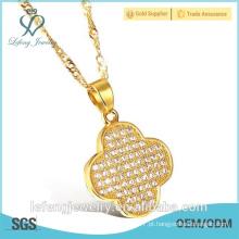 Hot venda barato barato jóias de ouro branco colar banhado a ouro