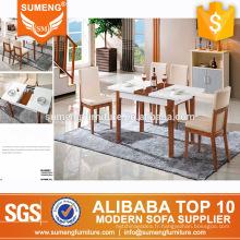 table à manger à base de bois rétractable extensible en marbre de luxe moderne