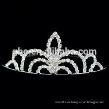 Nuevas coronas redondas del rhinestone de la venta al por mayor de la manera para los desfiles