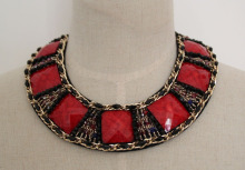 High Quality Red Zircon Costume Fashion Jewelry Necklace Collar