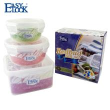 Regalo de Navidad Conjunto de contenedor de alimentos de sistema de bloqueo de microondas transparente