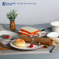 Awalong 8 pcs bone china dinner set with embossment design white ceramic tableware set for wedding