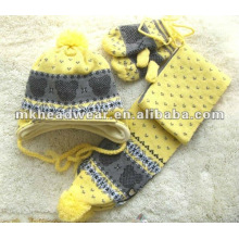 100% acrylic machine knitted hat,scarf& glves set