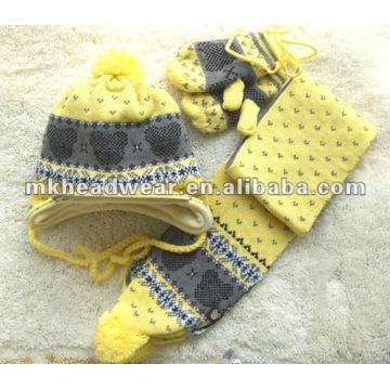 100% акриловая машинная трикотажная шапка, шарф и набор рукавов