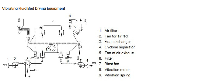 Vibration fluid bed process flow