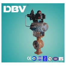 Válvulas de esfera Wafter de aço carbono Wcb V do atuador pneumático