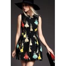 Long Sleeve Print Fashion Girls Dress, Women Clothes