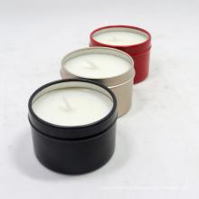 Preço barato vela de lata de metal de cera de soja