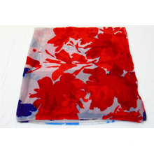 printed fashion polyester scarf navy and red big floral print cheap scarf