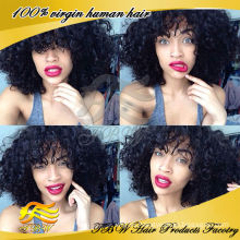 Wholesale indian remy human hair glueless kinky curly lace front wigs