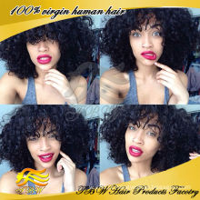 Wholesale Remy indiano cabelo humano glueless kinky curly frente perucas