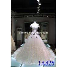 1A825 Gorgeous One Shouder Back Lace-Up Brodé A-Line Robe de mariée Robe de bal
