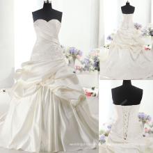 LS0123 Real ruched duches cetim artesanal flor rendas sweetheart vestido de noiva vestido de noiva dolce cetim vestido de casamento nupcial