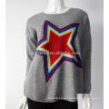 Sharrefun 100% pure round neck intarsia mongolian Cashmere sweater for womens