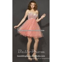HC2093 Muito perfeito brilho cintilante profundo com camadas sem manga Tulle curto laranja barato lantejoulas Vestidos de baile