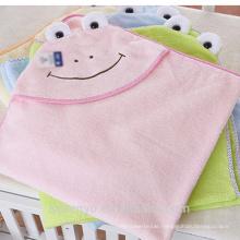 100% bamboo cute flog CT-019 baby bath towel baby hooded towel