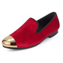 Gold Cap Toe Flat Red Velvet Loafers Slippers Women Dress Shoes