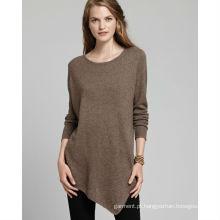 Moda manga comprida suéter de algodão senhoras