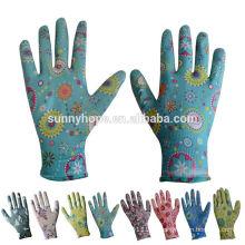 13 gauge florale nitril gartenhandschuhe
