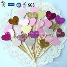 Colorful Heart Shaped Cake Toppers Wedding Cake Decoration