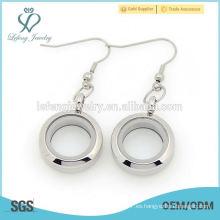 Moda de plata de acero inoxidable torcer flotante colgante de cristal colgante encantos pendiente