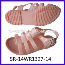 SR-14WR1327-13 дамы плоские сандалии женщин плоские желе сандалии пластиковые сандалии оптовые желе сандалии