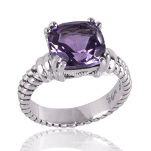 Amethyst Stone 925 Sterling Silver Prong Cushion Set Ring