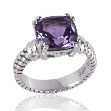 Amethyst Stone 925 Sterling Silver Prong Cushion Setting Ring