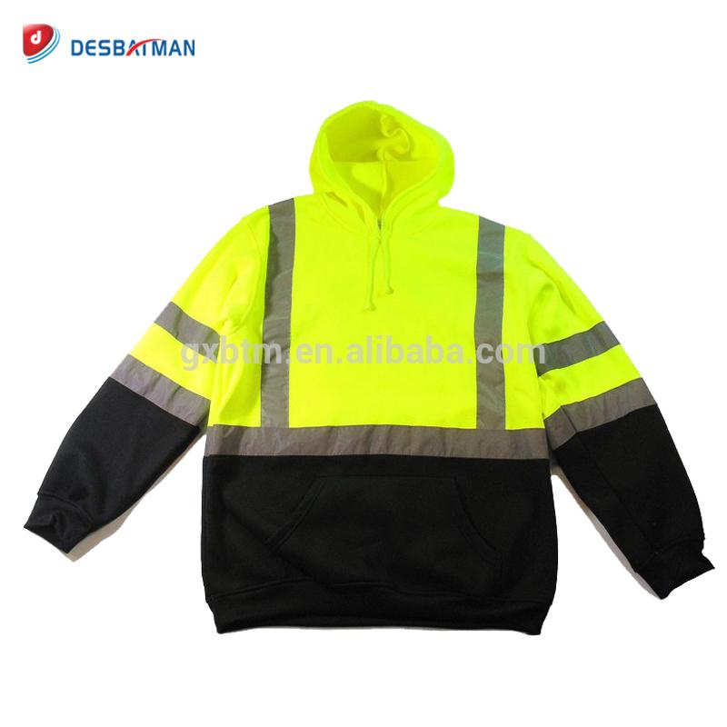 High Visibility Hooded Sweatshirt Class 3 Safety Road Work Hoodie Full ZipHoodie