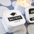 Square Mini metal perfumado velas recipientes de estanho