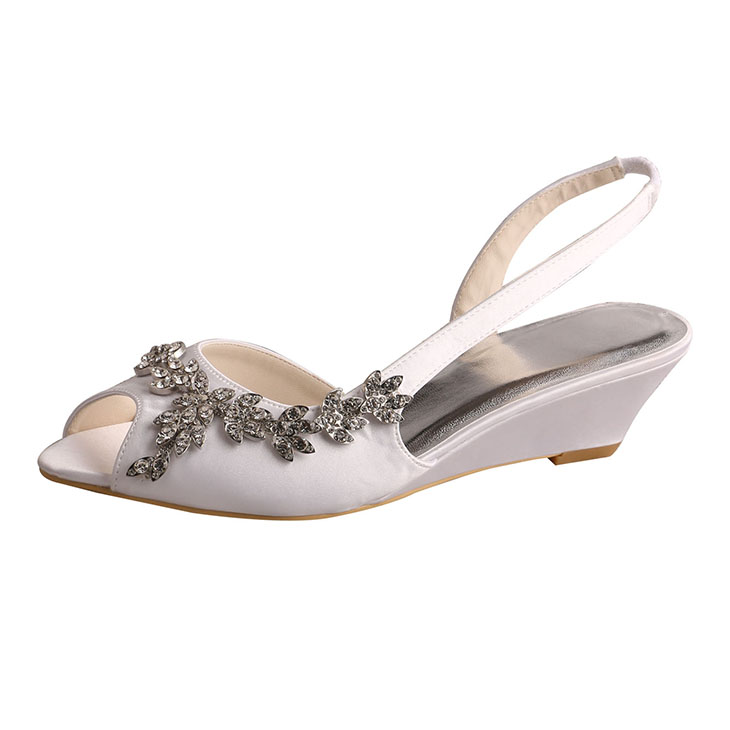 Silver Wedge Bridesmaid Shoes Sandals