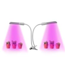 Flexible Gooseneck Table Plant Lamp  360 Degree Two Head  PL E27 LED Grow Light for Vegetable Planting Cabinet