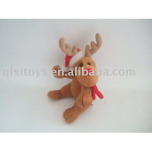 plush and stuffed christmas moose with hat