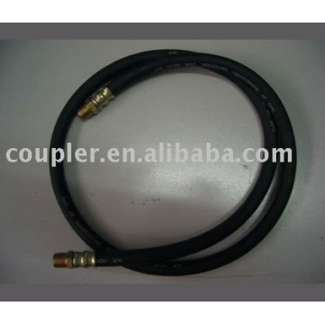 "1/4"" black Flexible Rubber Air Hose with 1/4""BSP Brass fitting"