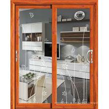 Porta de alumínio moderna de porta deslizante de vidro com vidro
