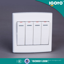 Igoto British Standard D3041 4 Gang 1 Way 86 Series Interruptor de pared eléctrico