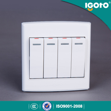 Igoto Estándar británico D3041 4 Gang 1 Way Switch