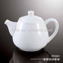 Hervidor de té seguro sano del estilo japonés del porcelana del estilo blanco de la porcelana con la tapa